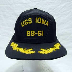 USS Iowa BB-61 Snap Back Cap Hat Made in the USA